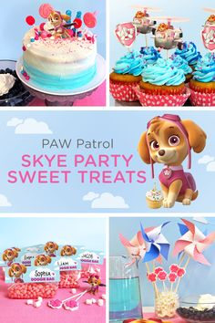 Your child wants a Skye PAW Patrol birthday, which means you'll be the one flying this party plane. Don't stress! With Nickelodeon Parents as your co-pilot, you'll have all the party goods, recipes, and totally clutch planning tips to get you through the day. Start your party planning by determining what party snacks and party treats to serve! White chocolate paw prints lollipops, blue cloud cupcakes, and a blue ombre birthday cake are the perfect Skye birthday treats.