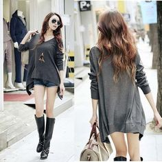 Fashion Korean Women Grey Long Sleeve Irregular Blouse Tee Shirt Tops L N425 C | eBay
