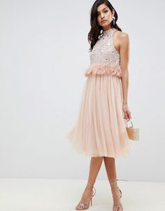 Find the best selection of ASOS DESIGN Embellished Sequin Tulle Midi Dress with Faux Feather Trim. Shop today with free delivery and returns (Ts&Cs apply) with ASOS! Sequin Bridesmaid Dresses, Wedding Dresses, Party Dresses, Bridesmaids, Asos, Mini Skater Dress, Vegan Fashion, Embellished Top, Moda Online