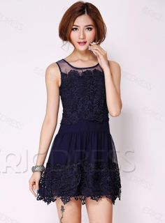 $ 61.59 Charming Sleeveless Embroider Slim Lace Dress