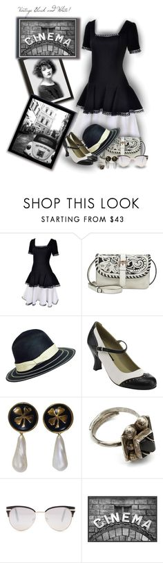 """""""Vintage Black and White - Contest!"""" by sarahguo ❤ liked on Polyvore featuring Victor Costa, Patricia Nash, Funtasma, Chanel, Steve Madden, Pottery Barn and vintage"""