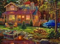 The Great Outdoors Peace Like A River Jigsaw 500 PC puzzle, - deal 101 Dream Pictures, Cute Pictures, Kinkade Paintings, Thomas Kincaid, Arte Country, Cottage Art, Cabins In The Woods, Painting Techniques, Beautiful Landscapes