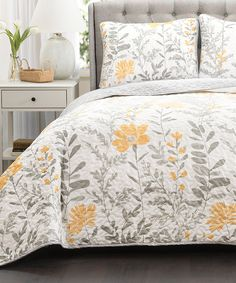 Gray & Yellow Aprile Quilt Yellow Set