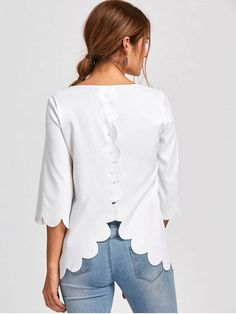 Up to 80% OFF! Button Detail Scalloped Edge Blouse. #Zaful #Tops zaful,zaful outfits,spring outfits,spring break,summer dresses,Valentine's Day,Valentine's Day gift,valentines day ideas,valentines outfits,cute,casual,classy,women fashion,fashion,teen fashion,products,tops,blouse,embroidered blouse,shirts,striped shirts,T-shirt,tees,t shirts,teeshirts,tank tops,crop tops,shirts,clothes,tunic tops,summer tops,lace top,ladies shorts,elegant outfits @zaful Extra 10% OFF Code:ZF2017