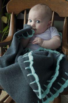 Crochet fleece blanket edging.