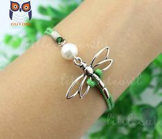 Dragonfly jewelry charm bracelet blue wax rope by littlecuteowl, $1.99