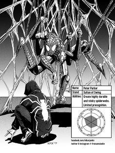 Peter Parker, Jojo style by Nikunja on DeviantArt Jojo Jojo, Jojo's Bizarre Adventure Stands, Jojo Bizzare Adventure, Bizarre Art, Jojo Bizarre, Fan Made Stands, Oc Manga, Jojo Stands, Jojo's Adventure