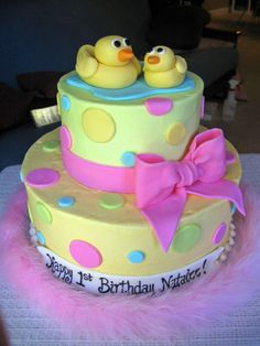 Ducky Cake - Buttercream with MMF accents.  This was for a little girl's 1st birthday.  Thanks for looking!