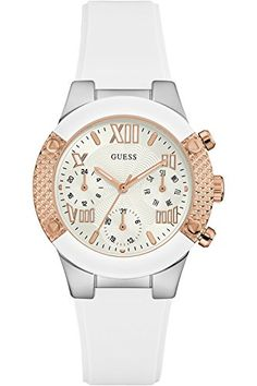 7a0a3484 GUESS W0773L1,Ladies Dress Elegant,Multi-Function,Two Tones-Rose Gold  Tone,Silicone Strap,50m WR ** Click image to review more details.