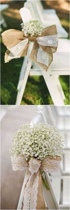 20 Rustic Country Burlap Wedding Chair Decor Ideas #weddings #weddingideas #rustic #backyard #rusticcountryweddings #countryweddingdecorations