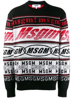 Red, white and black wool blend logo knit jumper from MSGM featuring a ribbed crew neck, long sleeves, horizontal stripes, a ribbed hem and cuffs and a relaxed fit. Designer Jackets For Men, Mexican Outfit, Bold Prints, Msgm, Printed Sweatshirts, Black Wool, Wool Blend, Women Wear, Knitting