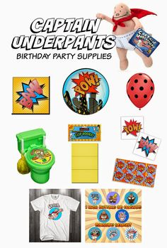 Family Love In My City: Captain Underpants Birthday Party 5th Birthday Party Ideas, Girl Birthday Themes, 10th Birthday Parties, Twin Birthday, Birthday Bash, Cinema Party, Captain Underpants, Superhero Party, Party Supplies