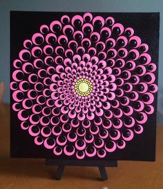 Blooming dahlia dot Mandala on canvas board x Pink, black, yellow - Flower burst dot Mandala on canvas board x Pink, black, yellow La mejor imagen sobre diy - Dot Art Painting, Rock Painting Designs, Painting Patterns, Stone Painting, Dot Painting On Rocks, Paint Designs, Mandala Painted Rocks, Mandala Rocks, Mandala Art Lesson