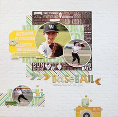 Baseball - Scrapbook.com - Matte circular photos on white cardstock to make them stand out.