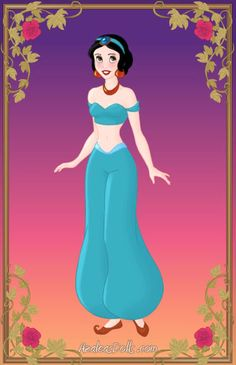 Snow White [as Jasmine] (Drawing by SheWolfOfMN @deviantART) #SnowWhiteAndTheSevenDwarfs #Aladdin