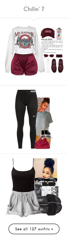 """""""Chillin' ✨"""" by deany ❤ liked on Polyvore featuring The High Rise, Puma, Boohoo, Jean-Paul Gaultier, Seletti, Moschino, MCM, NIKE, Tom Ford and Chapstick"""