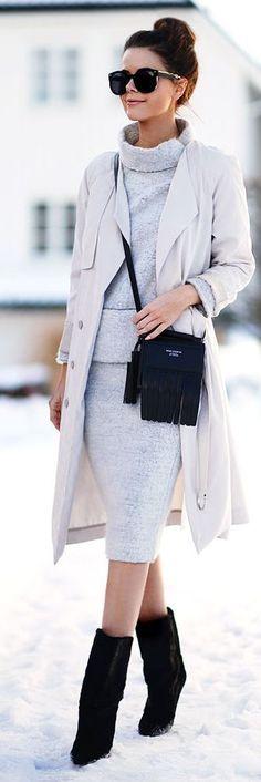 #winter #fashion / monochrome gray