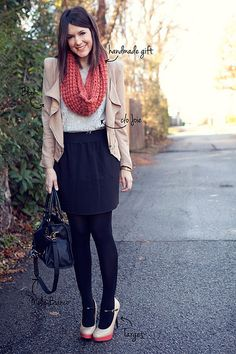 for fall- dark blue skirt, dark tights, white t, cowl/scarf Kendi of Kendi Everyday