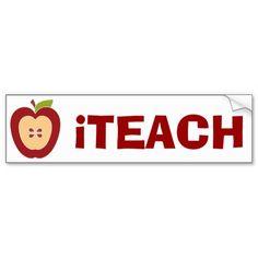 Teacher's Apple Bumper Sticker