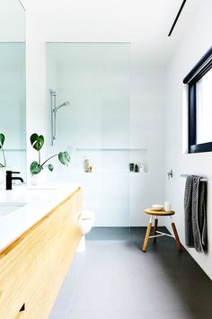 A black-and-white bathroom with a fresh and serene feel as well as a leafy green plant