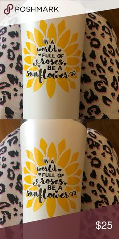 Sunflower tumbler Made to order can be personalized my brand Other Cute Water Bottles, Grad Gifts, Personalized Tumblers, Diy Stuff, Cricut Ideas, Sunflowers, Cold, Crafty, Cartoon