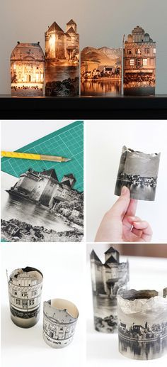 Beautiful little DIY photo votives tutorial from fellow fellow - these could make a fun alternative Christmas village.