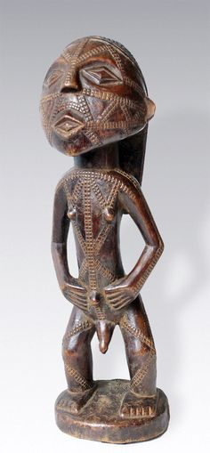 Africa | Carved wood figure from the Tabwa people of southeastern Congo | ca. 2nd half of the 20th century