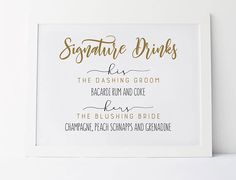 Signature Drink Sign, His And Hers Signature Drinks, Wedding Drink Sign, Wedding Bar Sign, Signature Drinks For Wedding, Personalized Sign