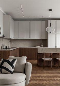 Home Interior, Interior Design Kitchen, Interior Paint, Beautiful Kitchens, Cool Kitchens, Fusion Kitchen, Nordic Kitchen, Decor Scandinavian, Bespoke Kitchens