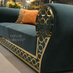 A highly decorative and luxury sofa with gold metal 'fretwork' sofa frame. See this exclusive high design sofa and others like it on our website. Living Room Sofa Design, Living Room Designs, Living Room Decor, Sofa Furniture, Luxury Furniture, Furniture Design, Rustic Furniture, Modern Furniture, Furniture Ideas