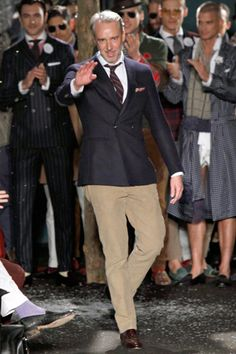 Michael Bastian in his own Michael Bastian Menswear line. Rocking prep school or in the adult world its called proper attire.