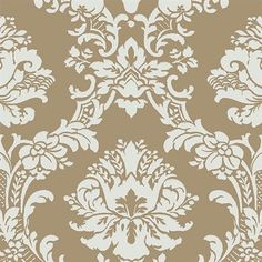 Gold and Green Brittany Damask Wallpaper