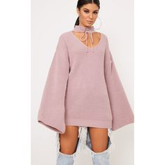 Jennah Blush Tie Choker Knit Jumper ($14) ❤ liked on Polyvore featuring tops, sweaters, pink, chunky sweater, chunky knit sweater, knit jumper, lace up sweater and knit top