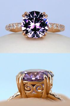 Some gems just leave us spellbound--like this insane fireball of mature purple and pink lustrous spinel. I set it oh so low to the finger with hand-engraved pave set diamonds to accompany the center gem. Galleries of swirling spirals erupt from a custom vintage-inspired setting for a perfect vintage meets modern look. It's powerful. Strong. Feminine. Budget Friendly Engagement Rings, Spirals, Hand Engraving, Solitaire Engagement, Pink Purple, Galleries, Vintage Inspired, Finger, Diamonds