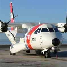 """HC-144A """"Ocean Sentry"""" a Maritime Patrol Aircraft produced by Spanish subsidiary of European Aeronautic Defense & Space Co.(EADS).1st unveiled in 2006,CN-235A (official USCG designation HC-144A).Will assume Coast Guard medium range surveillance & transport needs,replacing HU-25 & some HC-130s.Has capability to perform SAR equipment delivery such as rafts,pumps,& flares,& serve as an on-scene commander platform for homeland security missions,outfitted with IDS Command Control Systems."""