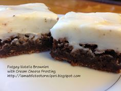 Fudgey Nutella Brownies with Cream Cheese Icing