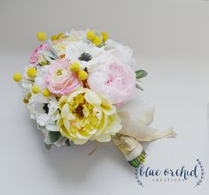 Yellow Cream and Blush Peony Bouquet with Anemones, Wedding Bouquet, Extra Large Silk Peony Bouquet by blueorchidcreations on Etsy