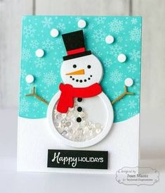 Give your holiday cards and crafts a snowy background with our Snow Day Background stamp set, and be sure to check out the rest of our holiday stamp collection. Handmade Christmas Tree, Christmas Card Crafts, Homemade Christmas Cards, Christmas Cards To Make, Xmas Cards, Homemade Cards, Holiday Crafts, Snowman Cards, Shaker Cards