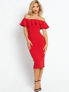 Myleene Klass Bardot Pencil Dress Unleash your inner silver screen starlet and get red-carpet-ready in this stunning pencil dress by Myleene Klass. Tight-fitting, this dress hugs your curves revealing your sultry hourglass silhouette, while the off the shoulder style flashes a flirty bit of flesh. Finished with an oversized ruffle, this dress is given a beautiful retro style.Keep the ruffle the focus of your outfit by simply adding a pair of black barely there sandals and a slim clutch bag.