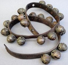 Sleigh Bells Beehive Stamped Brass Rivet 24 Count Size 2 on Strap c1900s Christmas Jingle Horse