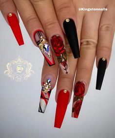 40 Lovely Rose Nail Art Designs to Fall In Love With - Suit Tutorial and Ideas Glam Nails, Bling Nails, Stiletto Nails, My Nails, Coffin Nails, Stiletto Nail Designs, Punk Nails, Nails On Fleek, Summer Acrylic Nails