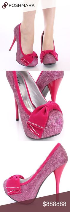 NWT/Box Fancy Fuchsia Pumps 💕 NWT/Box never worn Qupid brand pumps.  Fit for a princess! Qupid Shoes Heels