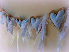 Denim Burlap Lace Garland Easter bunting by MyBurlapStudio Lace Garland, Bunting Garland, Fabric Bunting, Fabric Decor, Buntings, Wedding Bunting, Garland Wedding, Wedding Fabric, Denim Crafts