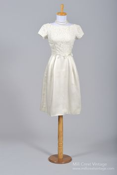 1960's Satin Lace Vintage Wedding Dress : Mill Crest Vintage