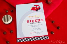 DIY PRINTABLE Invitation Card - Vintage Red Racing Car Birthday Party - PS807CA2a1