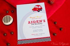 DIY PRINTABLE Invitation Card - Vintage Red Racing Car Birthday Party - PS807CA2a1