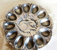 Vintage Pewter Deviled Egg Plate by jeaniesclassicpantry on Etsy, $30.00