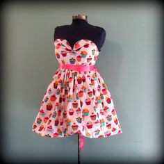 Womens Vintage Inspired Cupcake Print Dress by offbeatvintage, $72.00