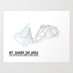 Mt. Baker, WA - Minimalist Trail Art Art Print by CircleSquareDiamond - $16.00