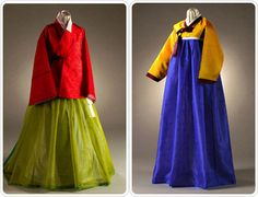 The design of Hanbok has changed with the passing of time. Pictured are differing designs for women's Hanbok from the 16th century (left) and the 18th century (right)